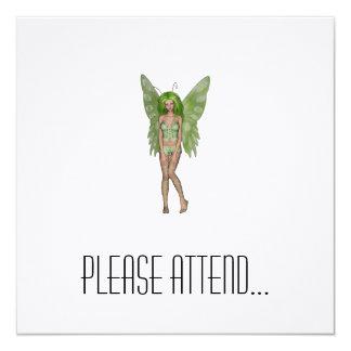Green Lady Fairy 4 - 3D Fantasy Art - 5.25x5.25 Square Paper Invitation Card