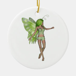 Green Lady Fairy 5 - 3D Fantasy Art - Double-Sided Ceramic Round Christmas Ornament