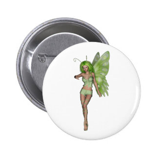 Green Lady Fairy 6 - 3D Fantasy Art - Pinback Button
