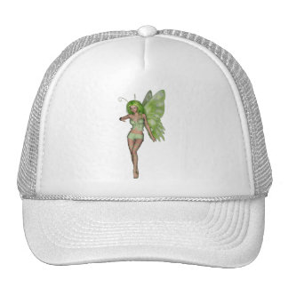 Green Lady Fairy 6 - 3D Fantasy Art - Mesh Hats