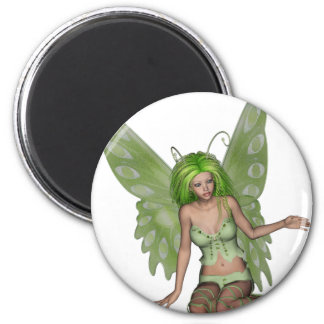 Green Lady Fairy 7 - 3D Fantasy Art - 6 Cm Round Magnet