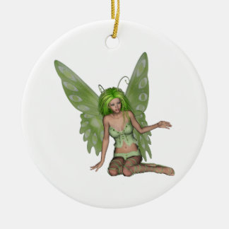 Green Lady Fairy 7 - 3D Fantasy Art - Double-Sided Ceramic Round Christmas Ornament