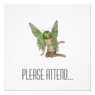 Green Lady Fairy 7 - 3D Fantasy Art - 5.25x5.25 Square Paper Invitation Card