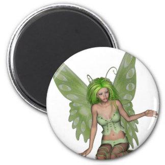 Green Lady Fairy 7 - 3D Fantasy Art - Refrigerator Magnet