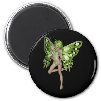 Green Lady Fairy 8 - 3D Fantasy Art - 6 Cm Round Magnet