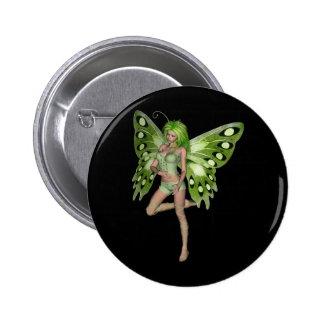 Green Lady Fairy 8 - 3D Fantasy Art - Pinback Button