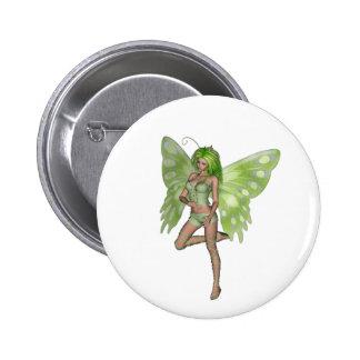 Green Lady Fairy 8 - 3D Fantasy Art - Pinback Buttons