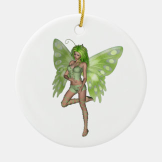 Green Lady Fairy 8 - 3D Fantasy Art - Double-Sided Ceramic Round Christmas Ornament