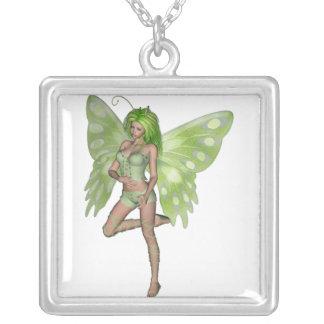 Green Lady Fairy 8 - 3D Fantasy Art - Square Pendant Necklace