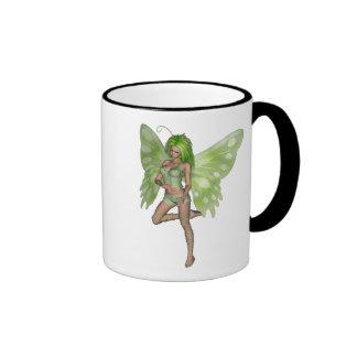 Green Lady Fairy 8 - 3D Fantasy Art - Ringer Mug