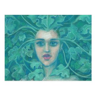 Green Lady, pastel painting, fantasy art, celtic Postcard