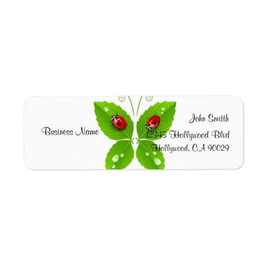 Green Ladybug Butterfly Business Address Label