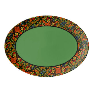 Green Ladybug Trim Pattern Porcelain Serving Platter