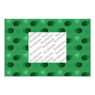 Green ladybugs hearts bows pattern photographic print