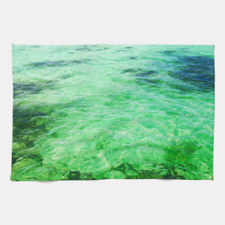 Green lagoon tea towel