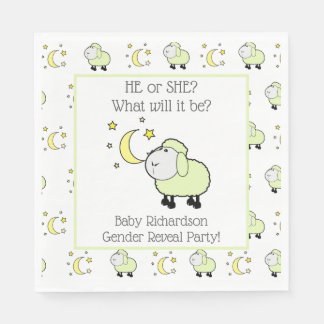 Green Lamb with Moon and Stars Gender Reveal Party Disposable Napkin