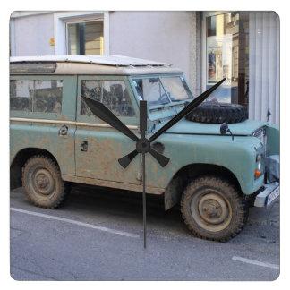 Green Land Rover Square Wall Clock