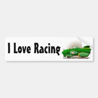 Green Land Speed Car I Love Racing Bumper Sticker Car Bumper Sticker