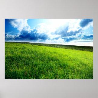 Green landscape print