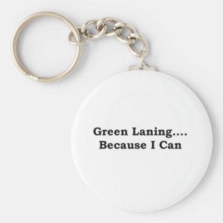 Green laning black basic round button key ring