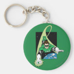Green Lantern and Earth Basic Round Button Key Ring