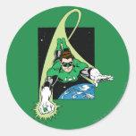 Green Lantern and Earth Round Sticker