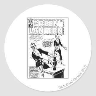 Green Lantern and Sinestro Cover, Black and White Classic Round Sticker