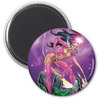 Green Lantern and Star Sapphire - Color 6 Cm Round Magnet