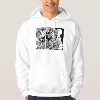 Green Lantern and the Moon - Black and White Hoodie