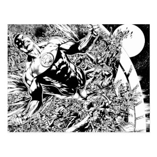 Green Lantern and the Moon - Black and White Postcard