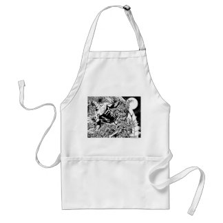 Green Lantern and the Moon - Black and White Standard Apron
