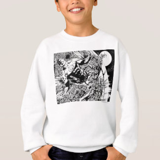 Green Lantern and the Moon - Black and White Sweatshirt