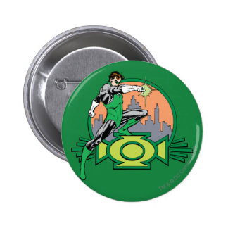 Green Lantern City Background and Logo 6 Cm Round Badge