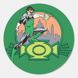 Green Lantern City Background and Logo Classic Round Sticker
