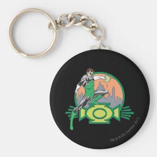 Green Lantern & Cityscape Basic Round Button Key Ring