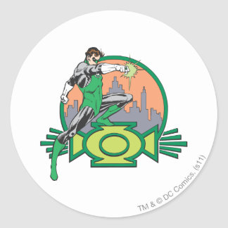 Green Lantern & Cityscape Classic Round Sticker