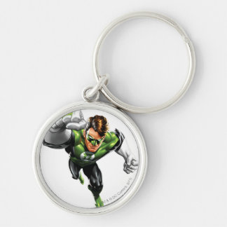 Green Lantern - Fully Rendered,  Arm Raise Silver-Colored Round Key Ring