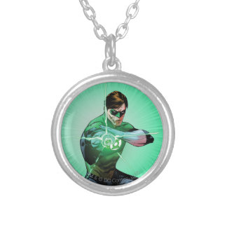 Green Lantern & Glowing Ring Silver Plated Necklace