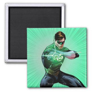 Green Lantern & Glowing Ring Square Magnet