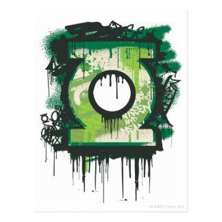 Green Lantern Graffiti Symbol Postcard