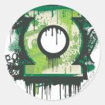 Green Lantern Graffiti Symbol Round Sticker