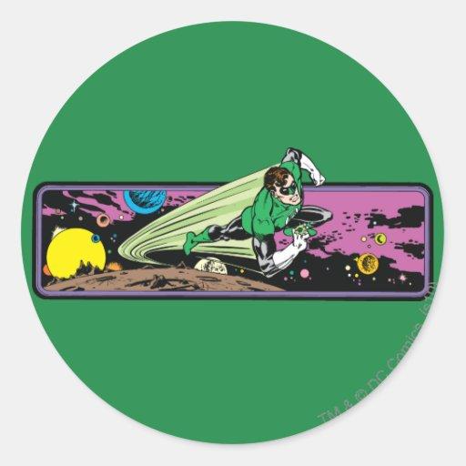 Green Lantern in Space Round Stickers