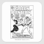Green Lantern in the ring, Black and White Square Sticker