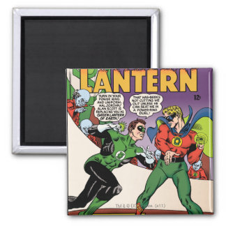 Green Lantern in the ring Square Magnet