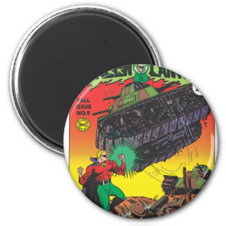 Green Lantern in the trenches 6 Cm Round Magnet