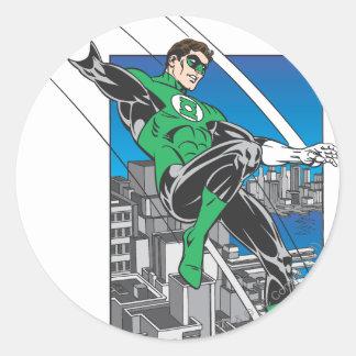 Green Lantern Lands in City Classic Round Sticker