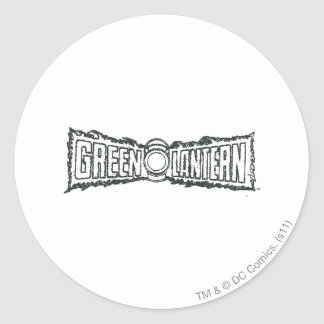 Green Lantern Letters BW Classic Round Sticker