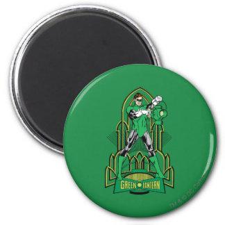 Green Lantern on decorative background 6 Cm Round Magnet