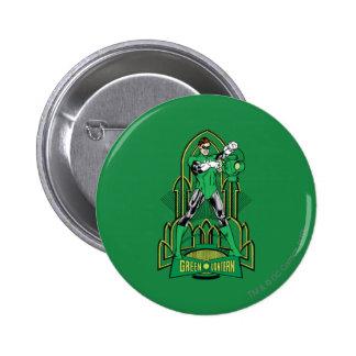 Green Lantern on decorative background 6 Cm Round Badge