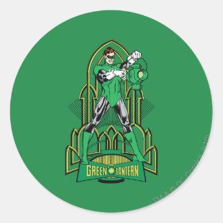 Green Lantern on decorative background Classic Round Sticker